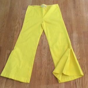 Vintage 60's Lemon Yellow Flair Panther Pants